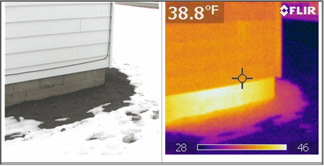 image clearly shows the heat loss from the uninsulated basement wall